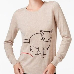 Maison Jules Cat with Yarn Crew Neck Sweater